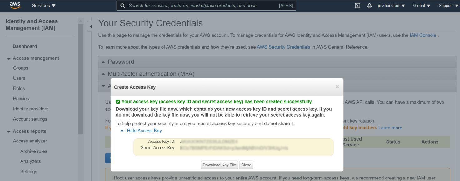 Aws access key