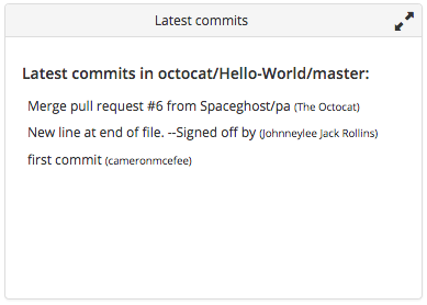 Latest commits tile summary view