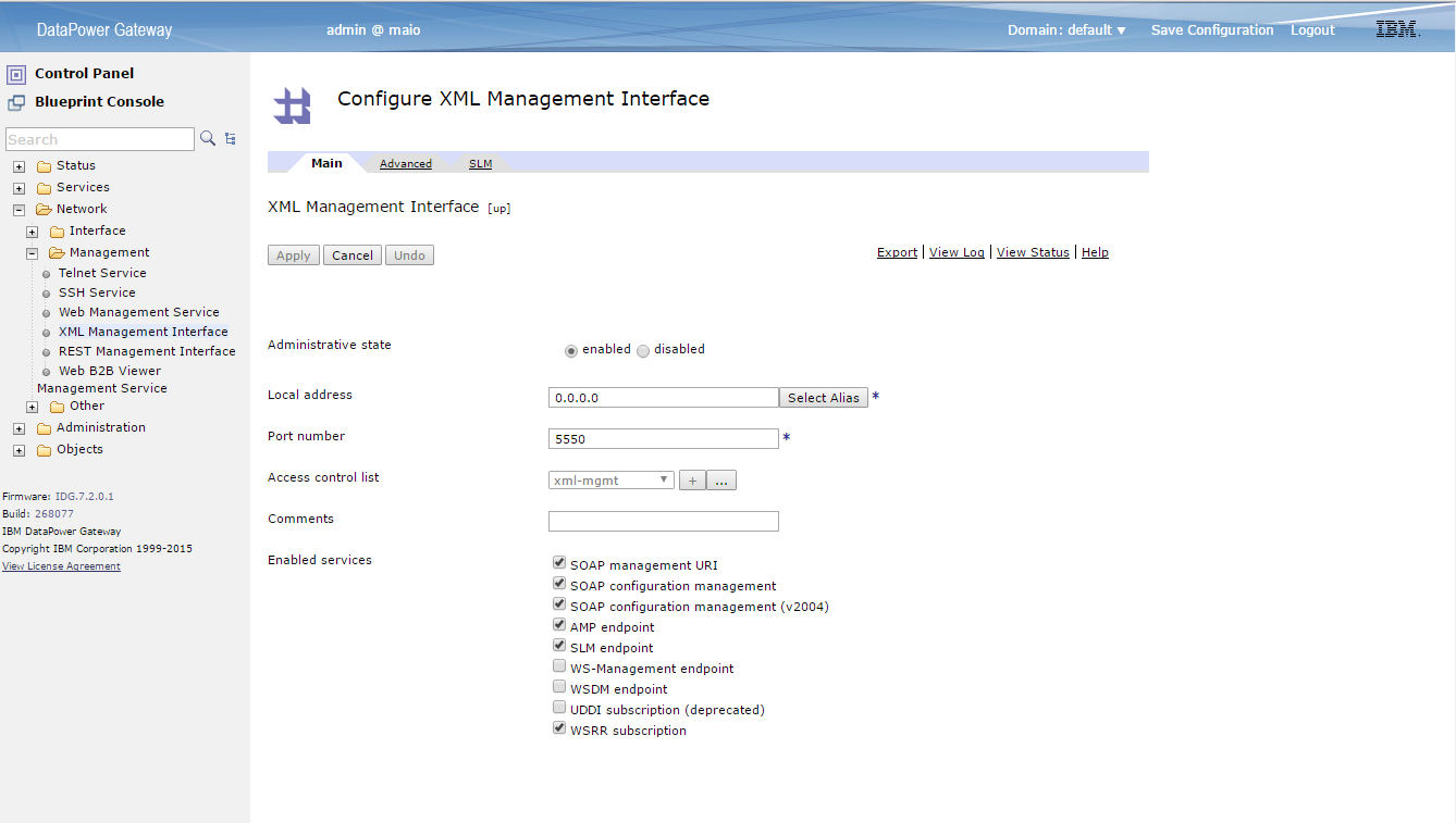 Configure XML Management Interface