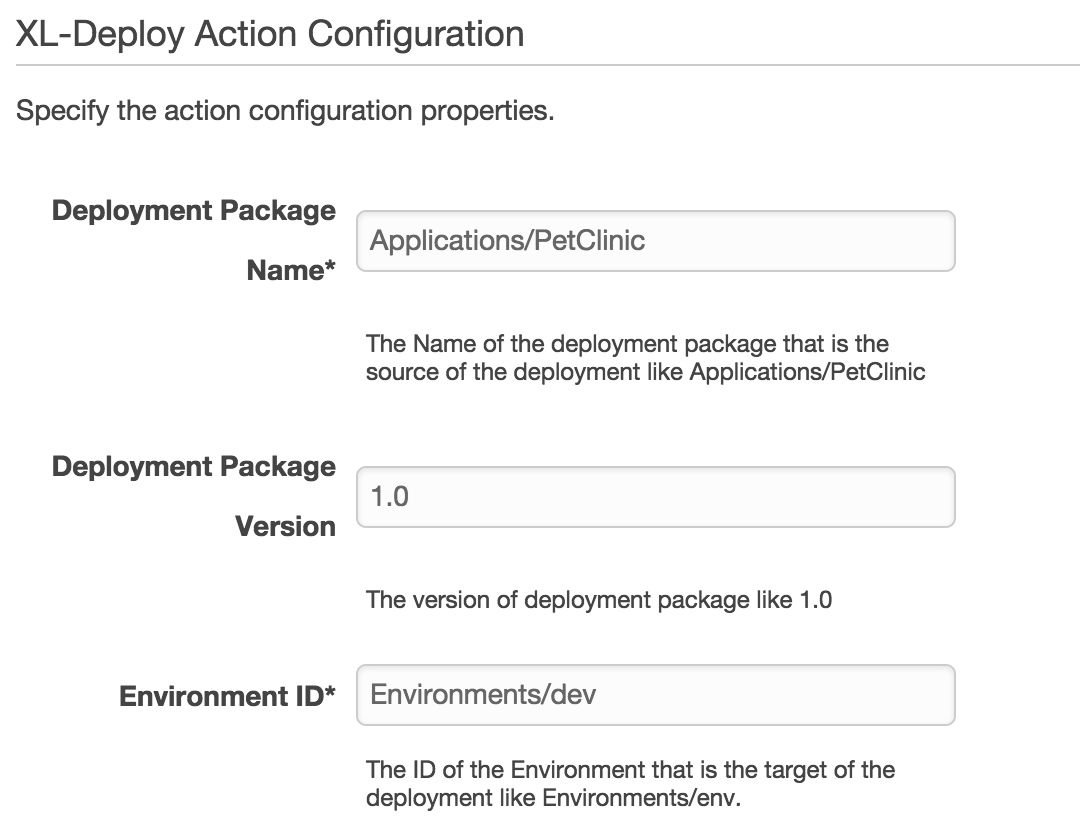 XL Deploy action - Package and environment details