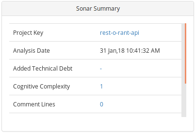 SonarQube analysis Summary tile