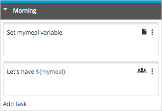 Template with set my meal variable as first task